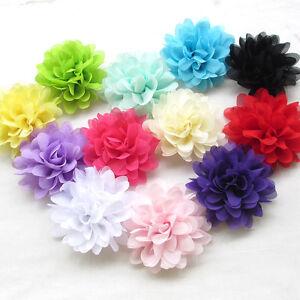 Upick-12PCS-Large-10CM-Chiffon-Ribbon-Flowers-Bows-Appliques-Wedding-Craft