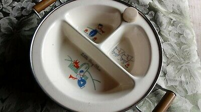 Vintage Divided Baby Food Dish In Warmer Little Boy Blue Excello Cups, Dishes & Utensils