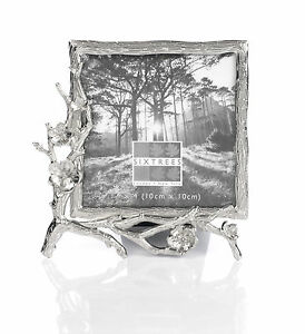 Antique-Silver-Ornate-Blackthorn-Photo-Frame-for-a-4-034-x-4-034-Picture