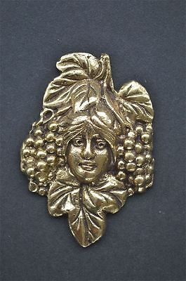 Art Nouveau ladies head with grapes solid brass furniture mount ormalu H1