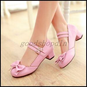 Plus-SZ-Womens-Sweet-Round-Toe-Bowknot-Block-Heel-Mary-Janes-Lolita-Shoes-3-5-13