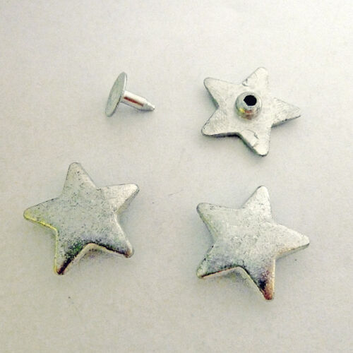 10 étoile Rivets Décoratifs massivement étoiles Stars 19 mm Argent Noir Ancien or