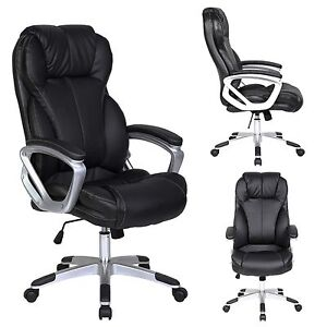 Image Is Loading Pu Leather Executive Office Chair Tilt Nylon Swivel