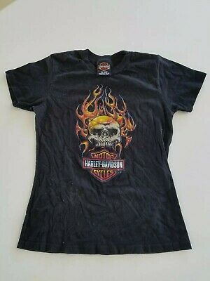 Vintage Harley Davidson Nothing Else Matters Faded Black Motorcycle with Flames T-shirt Sz M-L
