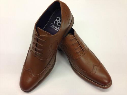 Leather Upper Brogue Fashion Shoes Tan Vintage Lace up Formal Vingtip Smart