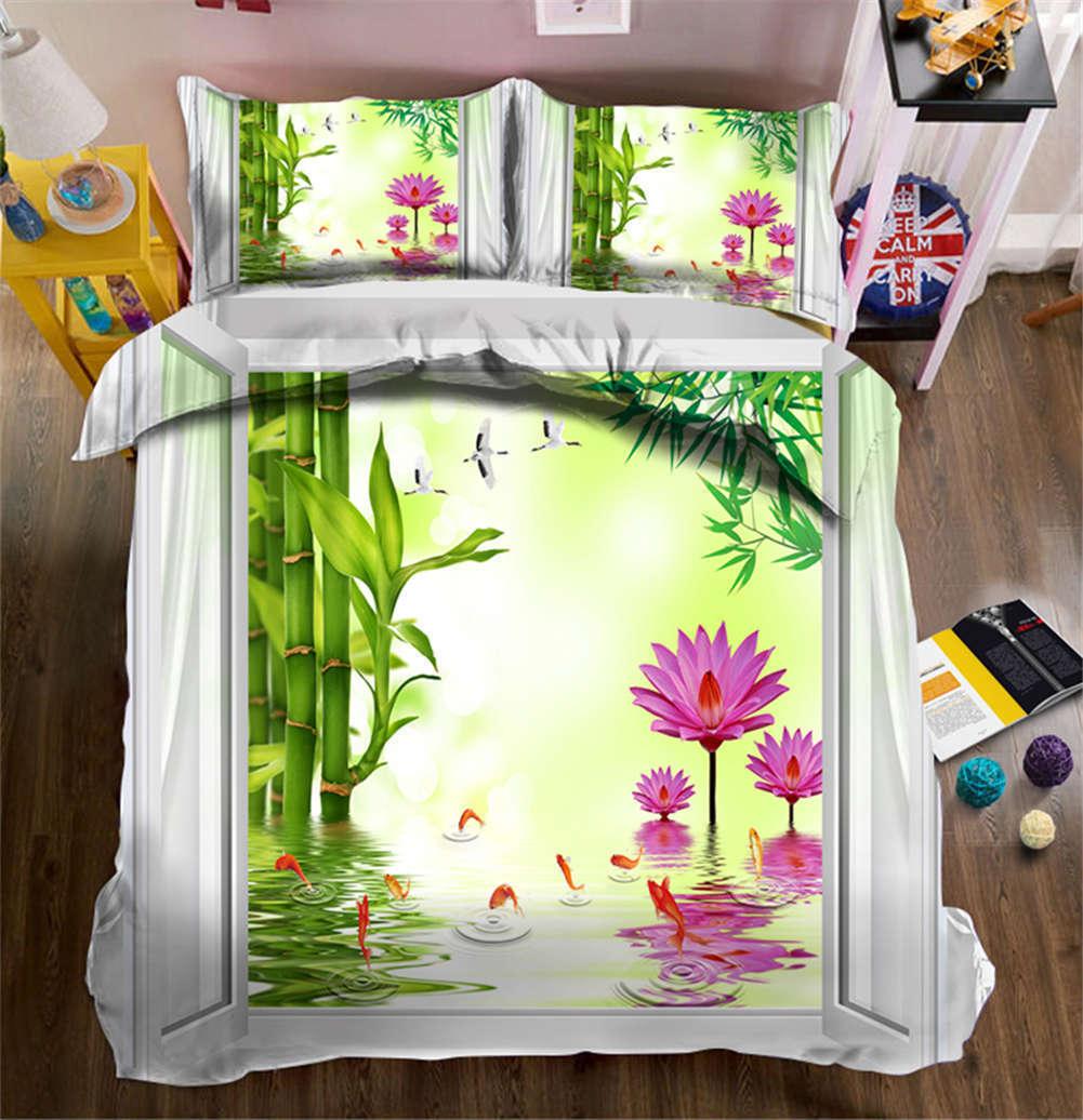 Brilliant Lotus Pond 3D Printing Duvet Quilt Doona Cover Pillow Case Bedding Set