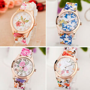 New-Women-Girls-Watch-Retro-Silicone-Printed-Flower-Causal-Quartz-Wrist-Watches