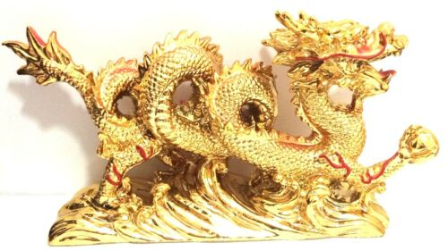 NEW LARGE GOLD Chinese Feng Shui Dragon Figurine Statue for Luck /& Success