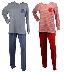 Mujer-100-Algodon-Rayas-Pijama-Top-de-Manga-Larga-para-Mujer-Pantalones-Pijama