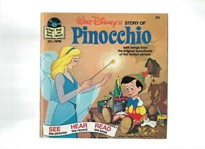 Vintage-BOOK-amp-RECORD-1977-WALT-DISNEY-STORY-OF-PINOCCHIO