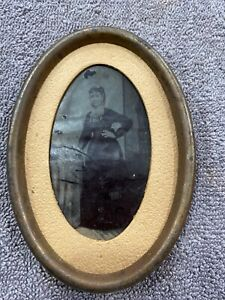 Vintage-Tintype-Photograph-Standing-Victorian-Woman-Holding-a-Book-Framed-3-x-5