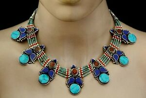 Asian-Sterling-Silver-Necklace-Nepalese-Handmade-Tibetan-Turquoise-Jewelry-J8