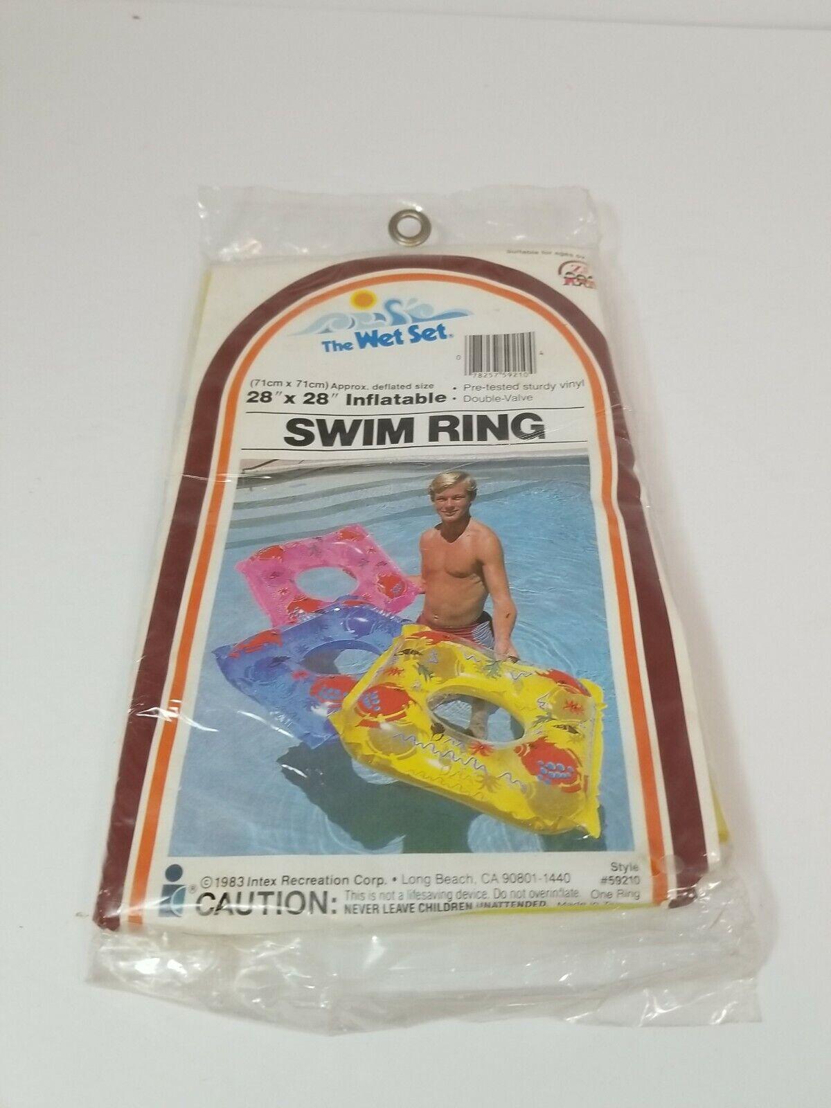 Vtg Sealed 1983 Intex The Wet Set Vinyl Inflatable Swim Ring Double Valve Yellow