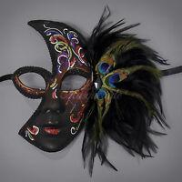 Peacock Feathers Half Venetian Masquerade Mask For Women M2185 [black]