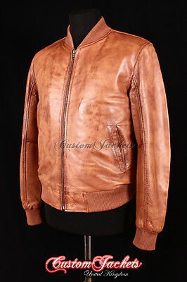 Men/'s SEVENTIES BOMBER Tan Washed Lambskin Classic 70/'s Short Leather Jacket