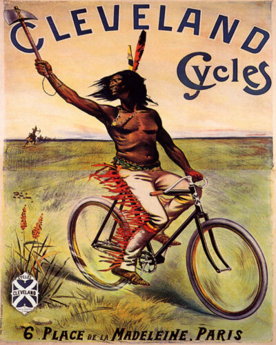 POSTER CLEVELAND CYCLES BICYCLE AMERICAN INDIAN BIKING VINTAGE REPRO FREE S//H