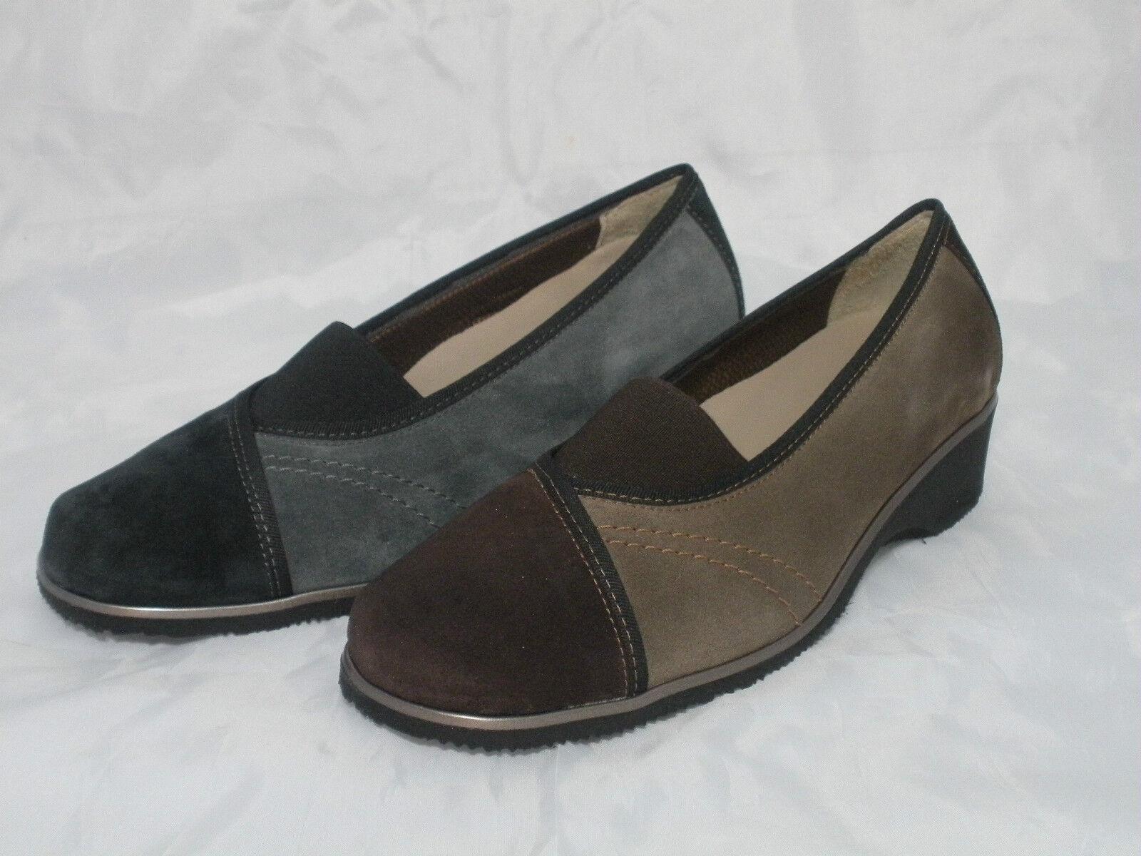 chaussures MELLUSO femmes MOCASSINI SCAMOSCIATI K90602 noir-ANTRACITE E CAFFE'-VISONE