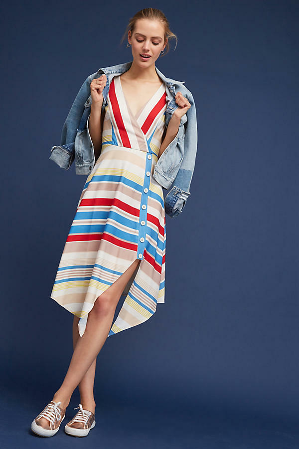 NWT PLENTY by TRACY REESE NAOMI STRIPED A-LINE DRESS 8
