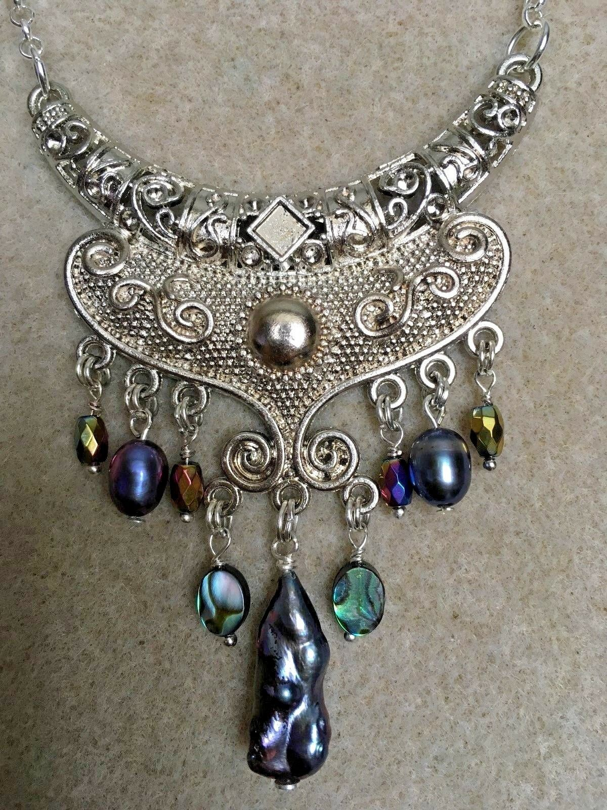 Biwa Pearl, Freshwater Pearls and Abalone on a Large Connector Pendant