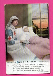 PATRIOTIC-WOMAN-NURSE-AND-Wounded-soldier-RED-CROSS-VINTAGE-POSTCARD-389