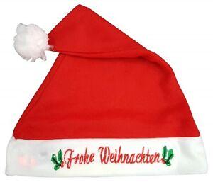 W127-Gorro-de-Santa-Claus-Gorro-de-Navidad-con-texto-Frohe-Weihnachten-LUMINOSO