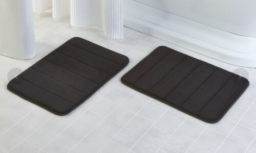 2-Pack Soft 17 X 24Inch Bathroom Mat Memory Foam Bath Rug Solid Color Microfiber