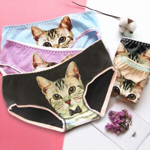 Panties Women Pussycat Panties Anti Emptied Kitty Cat Print Underwear Seamless Briefs TO