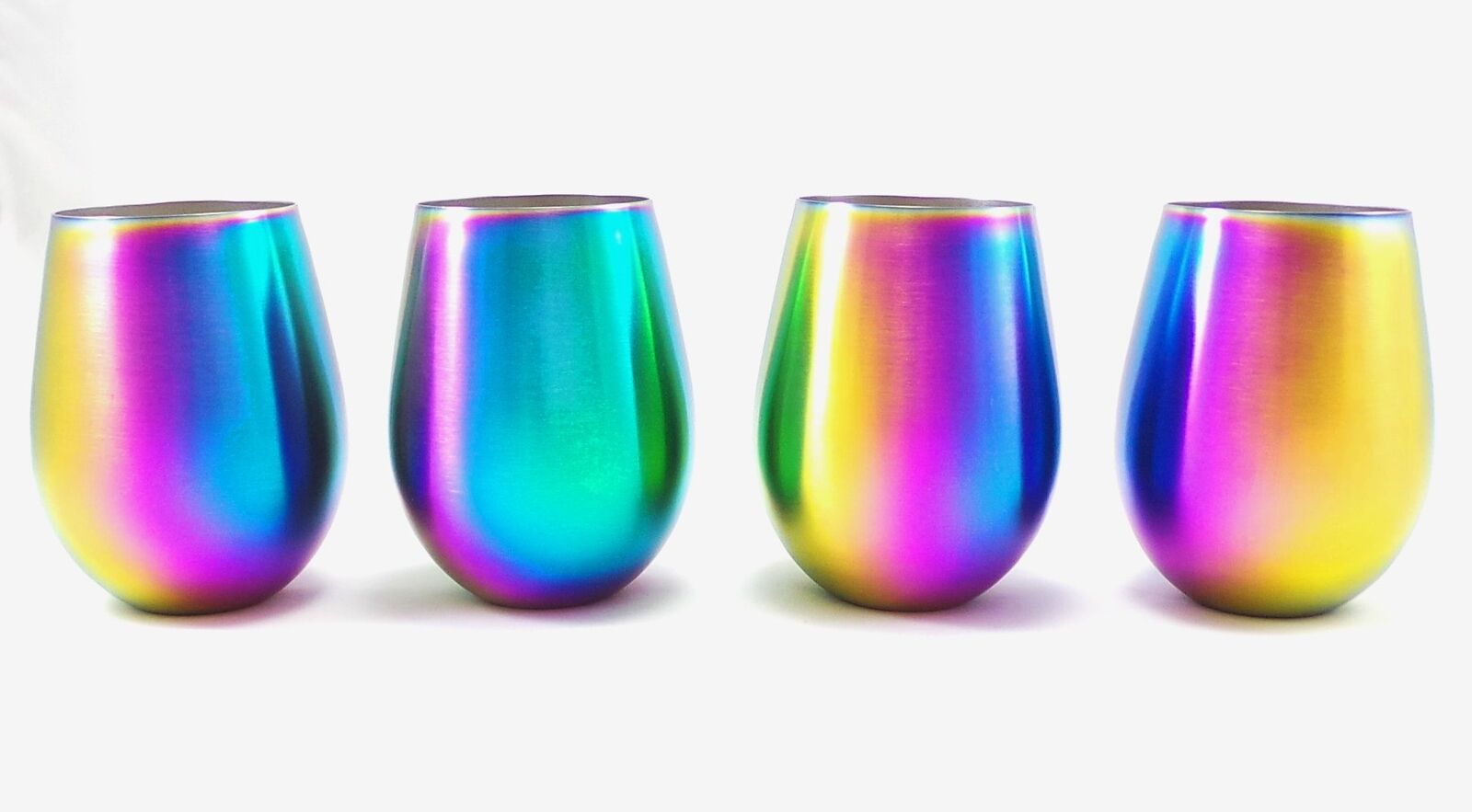Shatterproof Stainless Steel Wine Glasses (Set of 4), Titanium Rainbow colord F