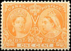 1897-Mint-Canada-F-VF-Scott-51-1c-Diamond-Jubilee-Issue-Stamp-Hinged