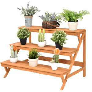 3-Tier-Wood-Plant-Stand-Flower-Pot-Display-Rack-Stand-Holder-Shelf-Step-Ladder