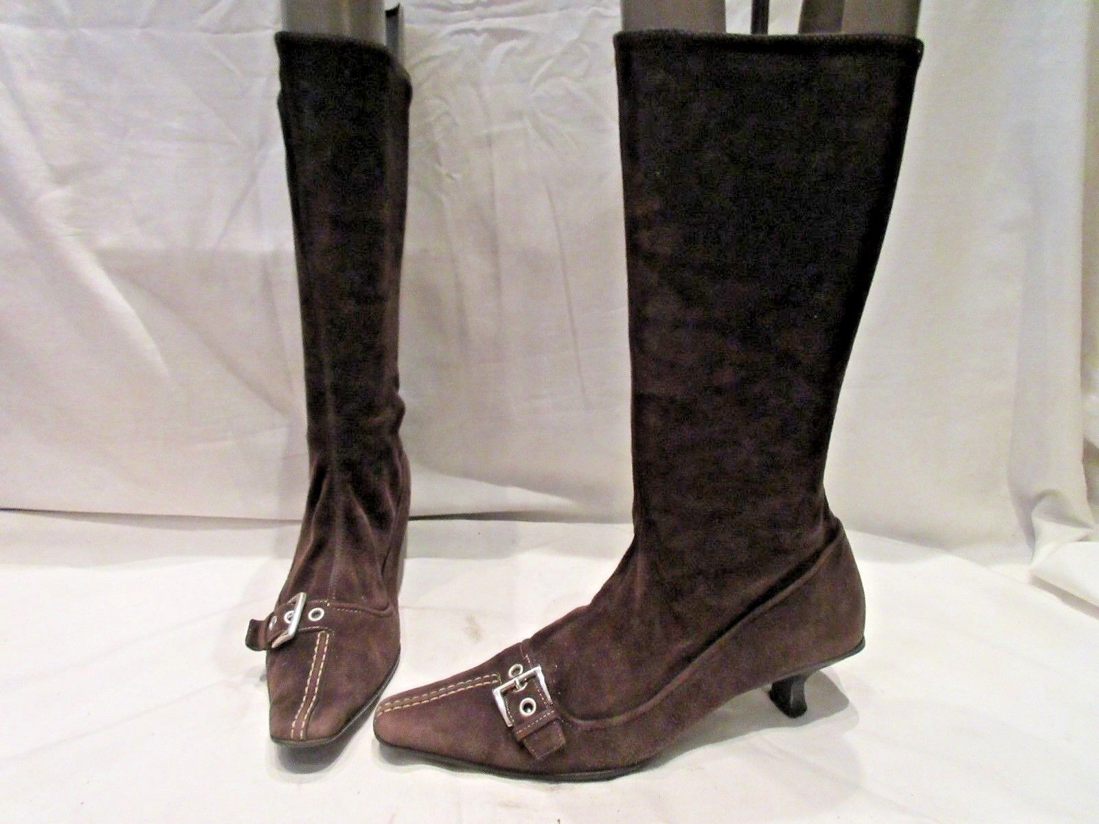 PRADA BROWN SUEDE STRETCH MID UK HEIGHT PULL ON Stiefel UK MID 6.5 (1770) 8709ea