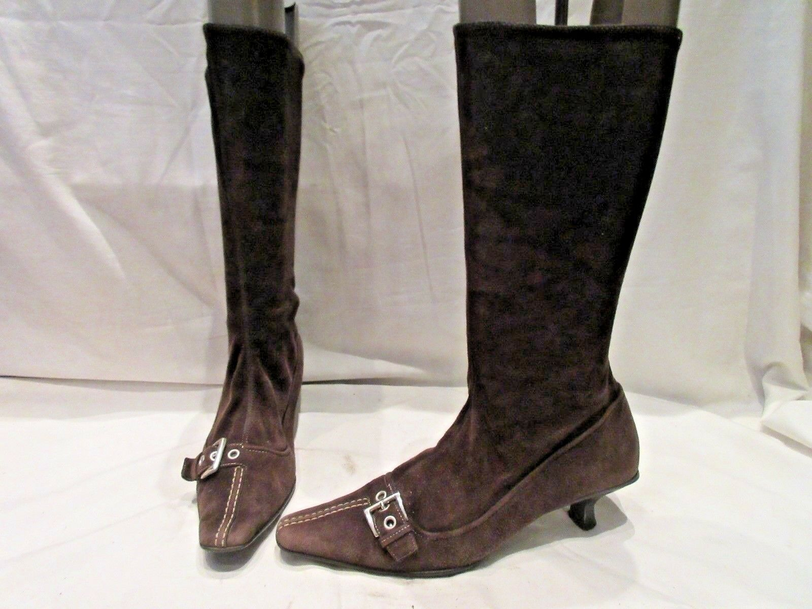 PRADA BROWN SUEDE STRETCH MID HEIGHT PULL ON BOOTS (1921)