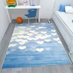 Kinder Teppich Spielzimmer Kinderzimmer Herz Muster Blau Weiß ...