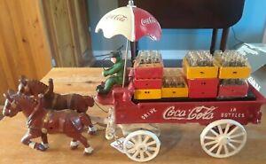 Vintage CAST IRON COCA-COLA WAGON Set - Metal Horse-Drawn cart with driver