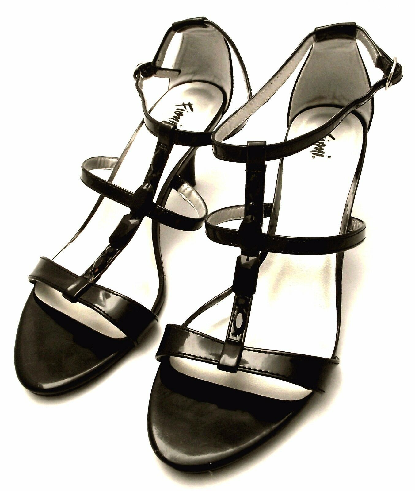 NWOB FIONI Black Patent Leather Heeled T-Strap Sandal 9.5B w/ Black Faux Jewels, 9.5B Sandal f581e3