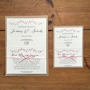 SmallMini Vintage Personalised Wedding Invites Ribbon DayEvenng
