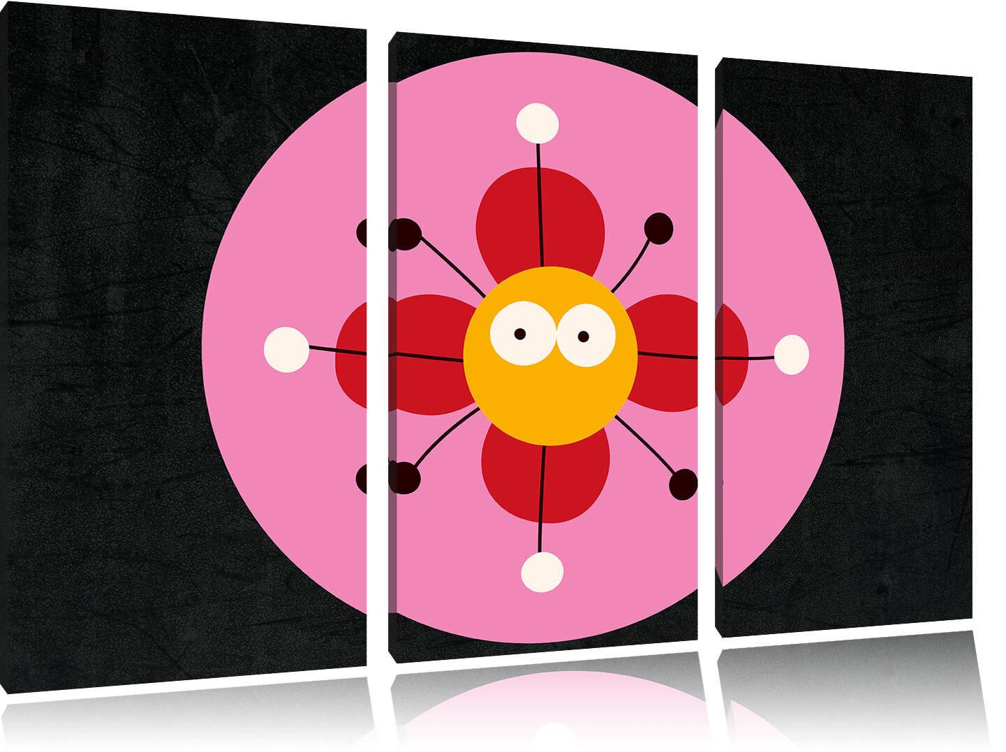 Diverdeenti Fiore Nero 3-Teiler Quadro su Tel Decorazione Parete Stampa Artistica