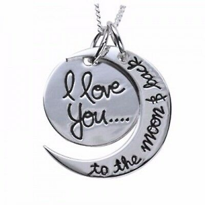 "Solid 925 Sterling Silver ""I love you to the moon & back"" Pendant & 925 Chain"