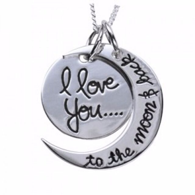 """Solid 925 Sterling Silver """"I love you to the moon & back"""" Pendant And 925 Chain"""