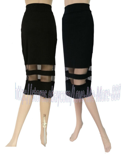 WOMENS Sheer Mesh panel pencil wiggle MIDI calf Casual party club  skirts DRESS