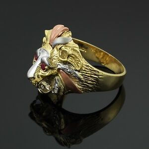 Multi Tone White Yellow And Rose Gold Lion Head Men S