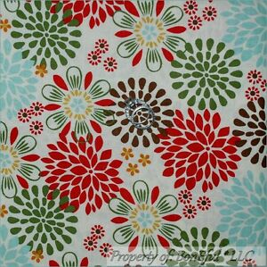 BonEful-Fabric-FQ-Cotton-Quilt-Cream-Off-White-Green-Red-Blue-Brown-Flower-Xmas
