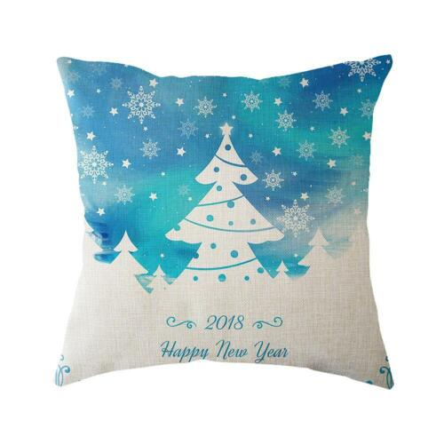 Noël taie d/'oreiller Santa Coton Lin Canapé Voiture Throw Cushion Cover Home Decor