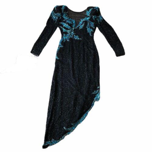 VTG 80s Black And Green Beaded Sequin Lillie Rubin