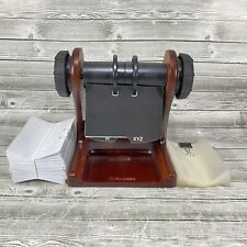 Rolodex Mahogany Wood Tone Wooden Rotary Business Card File Holder With Cards