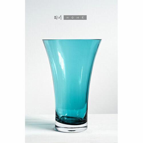Baltic Green Handmade Simplistic Flower Trumpet Shape Glass Vase