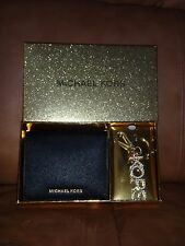 MICHAEL KORS~3 PC Gift Set~Womens Black Leather Wallet~Gold Pendant Keychain+BOX