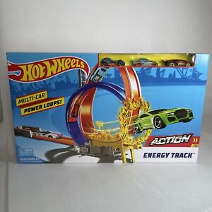 Hot Wheels Action Energy Track Set Toy Playset With Cars & Double Loop NEW BOXED