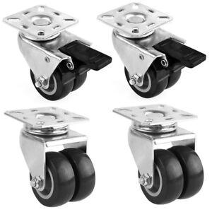 4-STUCK-Doppel-Lenkrolle-Transportrollen-Schwerlastrollen-Gummirollen-50mm-DHL