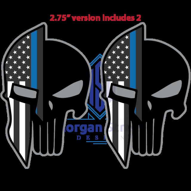 5 Blue Lives Matter Thin Line Punisher Hard Hat Sticker Police Officer Decals